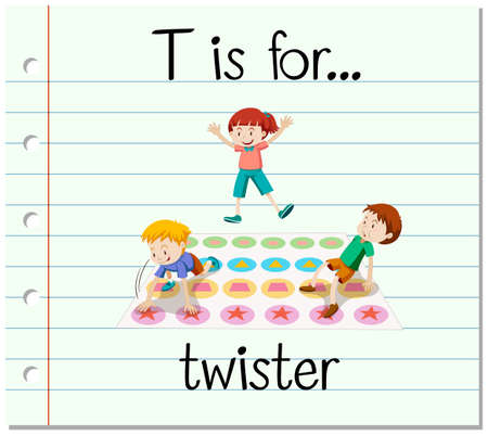 twister: Flashcard letter T is for twister illustration Illustration