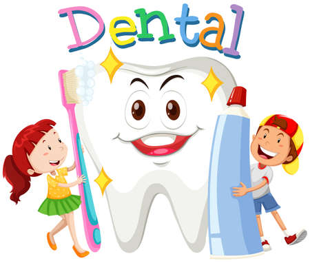 toothpaste: Children with toothbrush and toothpaste illustration Illustration