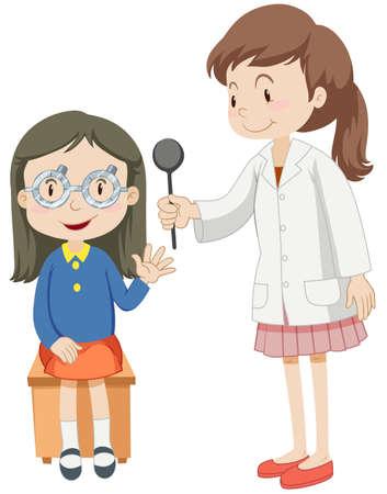 medica: Girl having eye checked by doctor illustration
