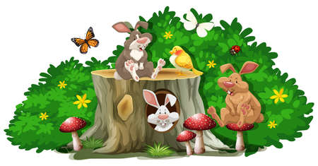 bugs bunny: Rabbits and bugs in the garden illustration