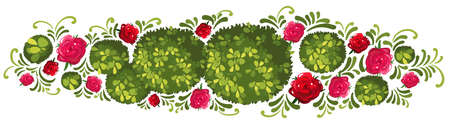 bush: Plant design with bush and roses illustration Illustration