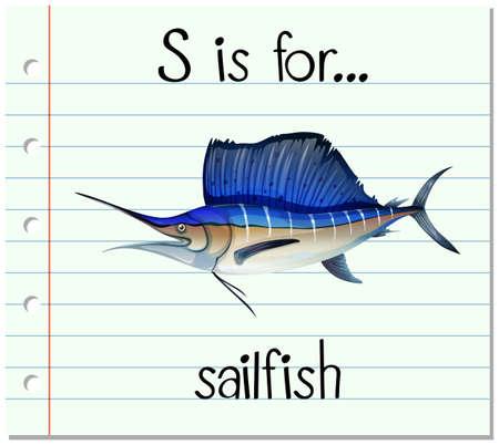pez vela: Letra S está para el ejemplo del pez vela