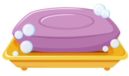 Bar of soap on the tray illustration