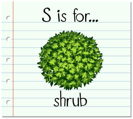 shrub: Flashcard letter S is for shrub illustration