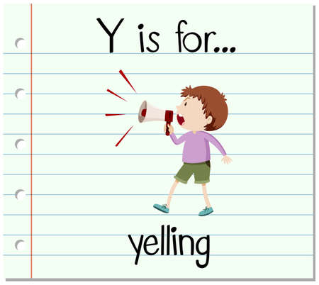 phonics: Flashcard letter Y is for yelling illustration Illustration