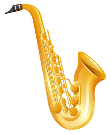 woodwind: Golden saxophone on white background illustration Illustration