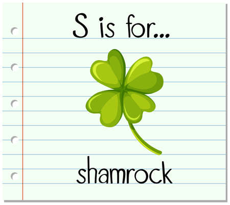 phonics: Flashcard letter S is for shamrock illustration