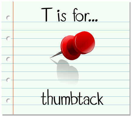 thumbtack: Flashcard letter T is for thumbtack illustration Illustration