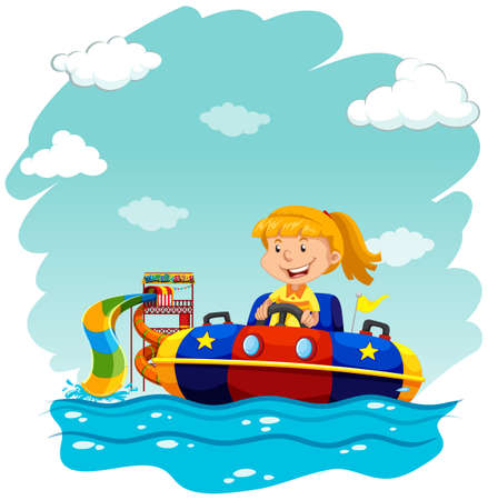 water park: Girl riding on rubber boat illustration