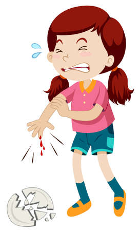 injured person: Little girl cut her finger illustration