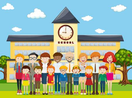 Los estudiantes y profesores de la escuela ilustración de tierra