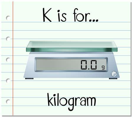 Flashcard letter K is for kilogram illustration