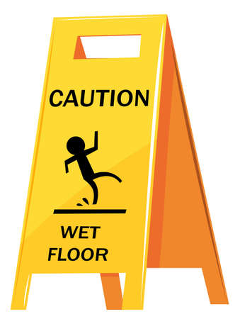 clean floor: Caution sign warning about wet floor illustration
