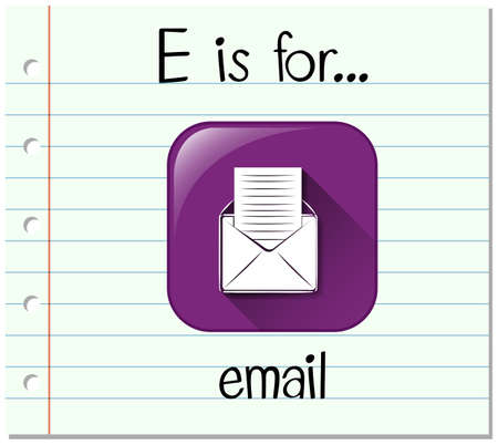 phonetics: Flashcard letter E is for email illustration