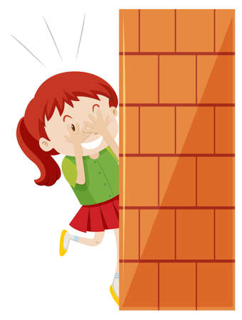 hide and seek: Girl hiding behind the wall illustration