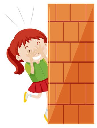Girl hiding behind the wall illustration Фото со стока - 56000361