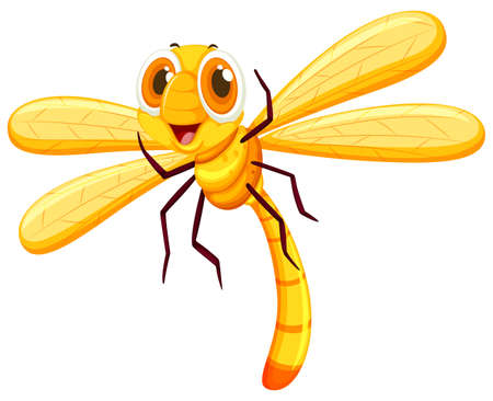 wild living: Yellow dragon with cute face illustration
