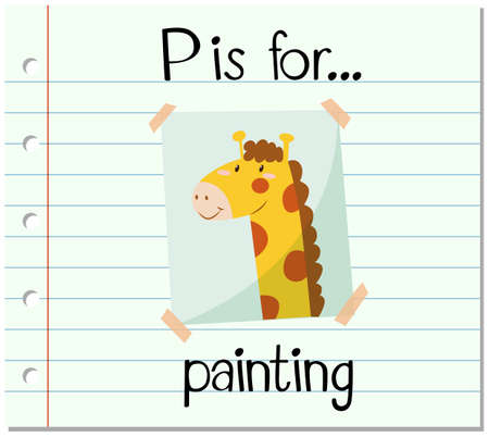 p illustration: Flashcard letter P is for painting illustration Illustration