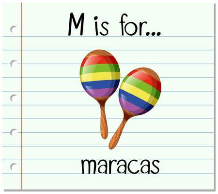 writing instruments: Flashcard letter M is for maracas illustration Illustration