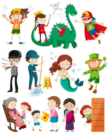 hide and seek: People doing different activities illustration
