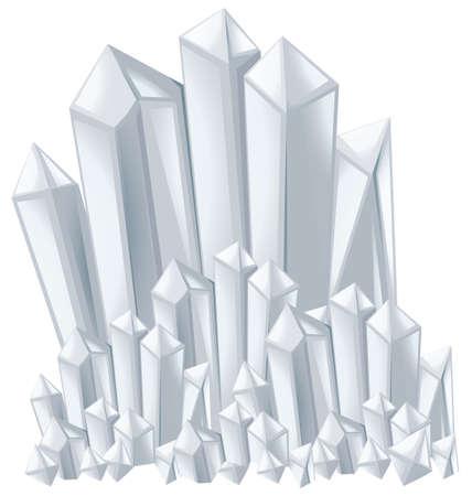 quartz crystal: Crystal stones in white color illustration