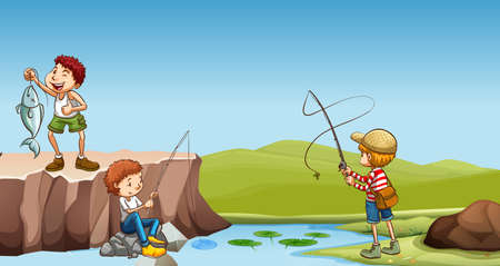 kids outside: Three boys fishing at the river illustration