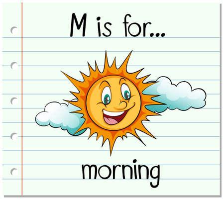 paper spell: Flashcard alphabet M is for morning illustration