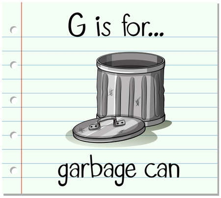 garbage can: Flashcard alphabet G is for garbage can illustration Illustration