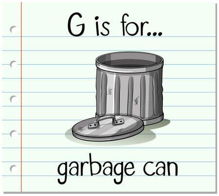 tin: Flashcard alphabet G is for garbage can illustration Illustration