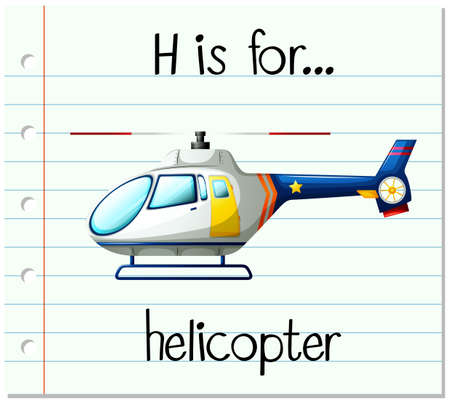 paper spell: Flashcard alphabet H is for helicopter illustration Illustration
