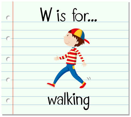 paper spell: Flashcard alphabet W is for walking illustration