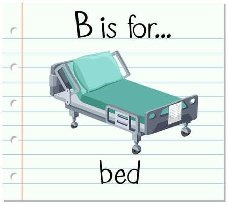 Grupos de tarjetas alfabeto B está para el ejemplo de cama