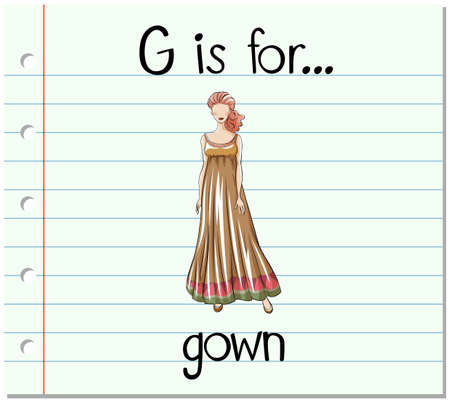 a gown: Flashcard alphabet G is for gown illustration