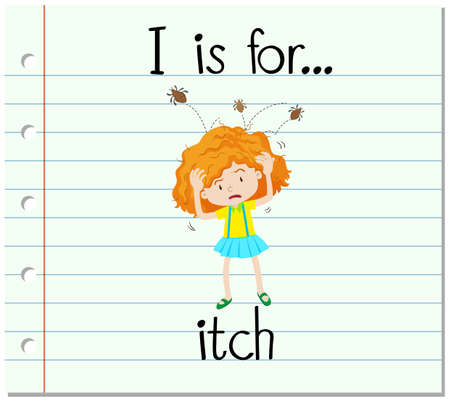 i kids: Flashcard alphabet I is for itch illustration