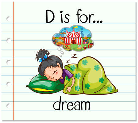 for a dream: Flashcard alphabet D is for dream illustration Illustration