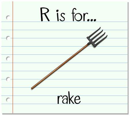 Flashcard alphabet R is for rake illustration