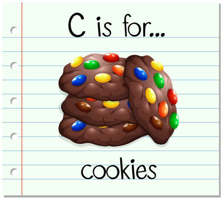 paper spell: Flashcard alphabet c is for cookies illustration Illustration