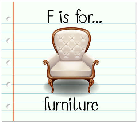 armchair: Flashcard letter F is for furniture illustration