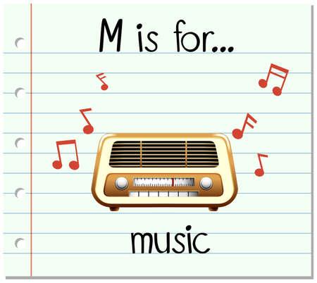 equipo de sonido: Grupos de tarjetas letra M está para el ejemplo de la música