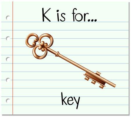 La lettre K de Flashcard est pour l'illustration clé