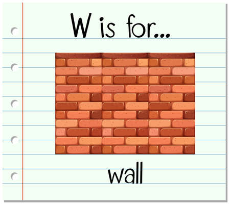 Flashcard letter W is for wall illustration