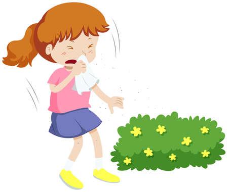 Girl having allergy from pollen illustration