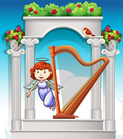angel roses: Angel flying around harp in heaven illustration Illustration