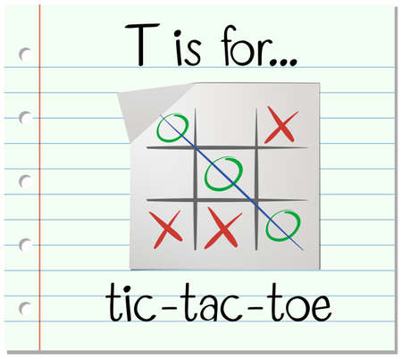 phonetics: Flashcard letter T is for tic tac toe illustration