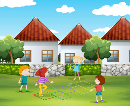 hopscotch: Children playing hopscotch in the yard illustration Illustration