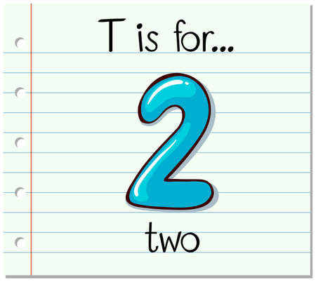 two: Flashcard letter T is for two illustration