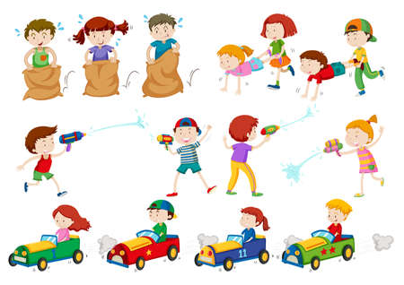 sacks: Children doing different activities illustration
