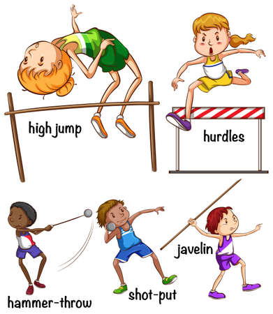 hurdles: Different kind of sports illustration Illustration