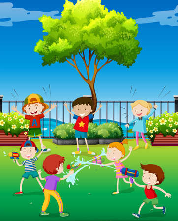 bambini che giocano: Children playing water gun in the park illustration