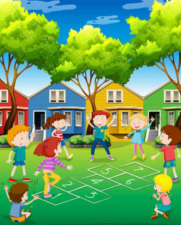 Children playing hopscotch in the yard illustration Illustration